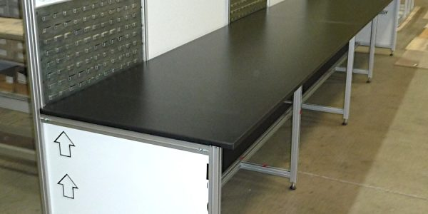 Long multi user bench - angle view